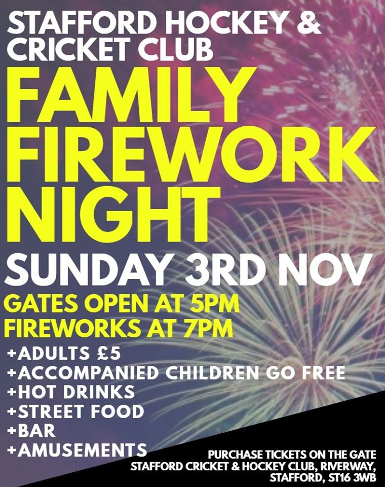 Family Fireworks Night 2019 Stafford Hockey Club
